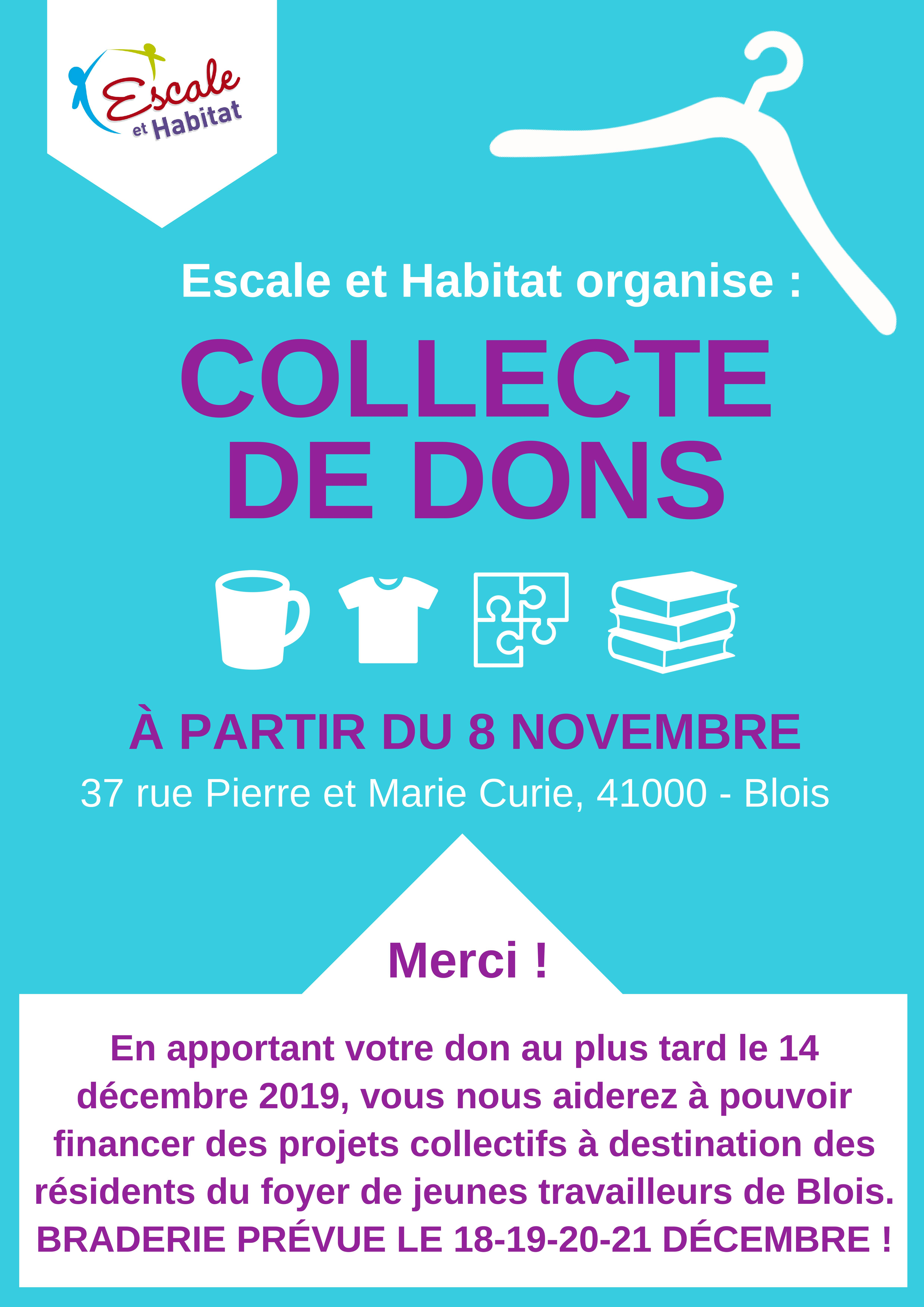 Collecte de Dons Escale et Habiat FJT Blois